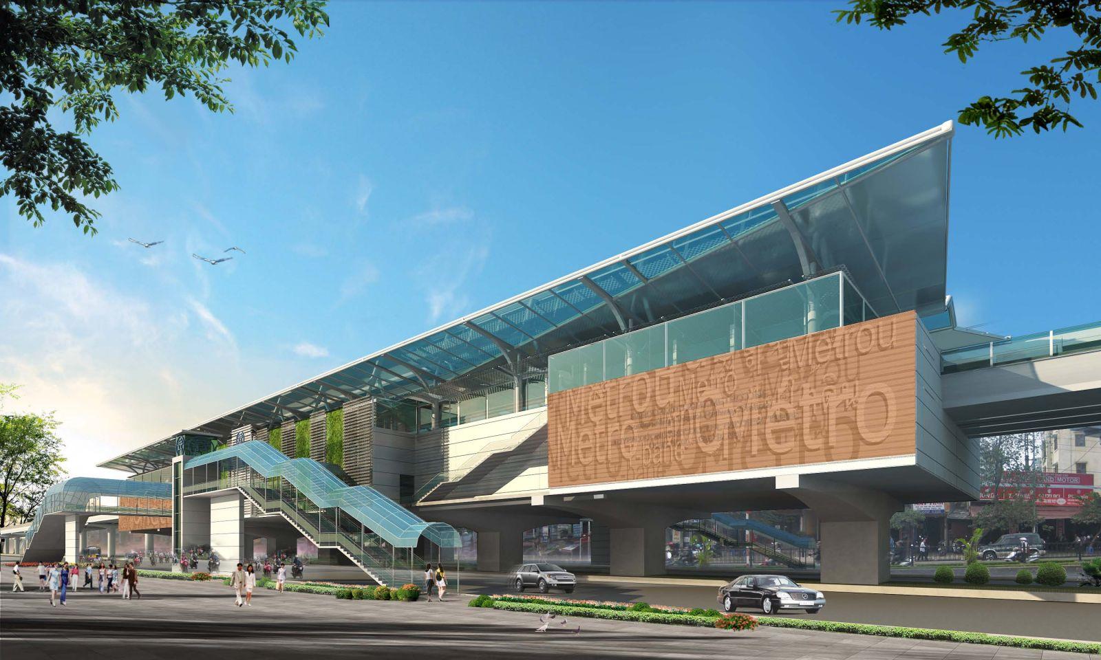 Nhà ga đường sắt trên cao tuyến Nhổn – ga Hà Nội giai đoạn 2 ( toàn bộ 8 nhà ga)